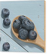 Blueberries On A Spoon Wood Print