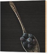 Blueberries On Silver Spoon Wood Print