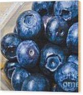 Blueberries Punnet Wood Print