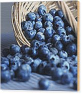 Blueberries Spilling From Wicker Basket Kitchen Art Wood Print
