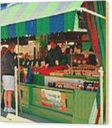 Blueberries Strawberry Jam Baskets Ferme Racine Petits Fruits Jean Talon Market Scene Carole Spandau Wood Print