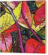 Blueberry Autumn Leaves Wood Print