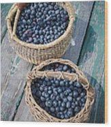 Blueberry Baskets Wood Print