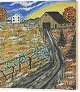 Blueberry Farm Wood Print