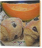 Blueberry Scones And Cantaloupe Wood Print