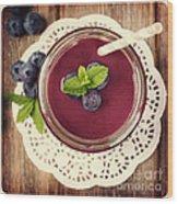 Blueberry Smoothie Retro Style Photo.  Wood Print