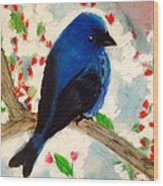 Bluebird Amid Apple Blossoms Wood Print