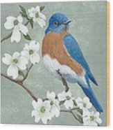Bluebird And Dogwood Wood Print