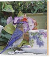 Bluebird And Tea Cups Wood Print