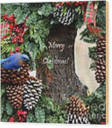 Bluebird Christmas Wreath Wood Print