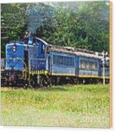 Bluebird Train Wood Print