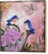 Bluebirds And Butterflies Wood Print