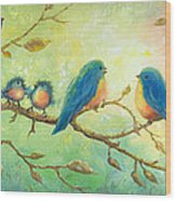 Bluebirds On Branches Wood Print