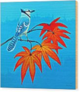 Bluejay In The Fall 2 Wood Print