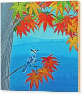 Bluejay In The Fall Wood Print