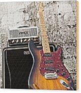 Blues And Brick Wood Print