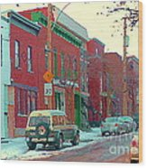 Blues And Brick Houses Winter Street Suburban Scenes The Point Sud Ouest Montreal Art Carole Spandau Wood Print