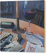 Blues And Wine Wood Print