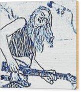 Blues In Blue Wood Print