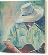 Blues Man Wood Print by Sharon Sorrels