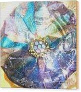 Blues Mandala Bowl Wood Print