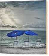 Blueumbrellassanibelisland Wood Print