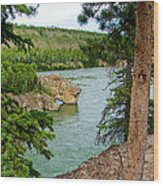 Bluff Over The River In Five Finger Rapids Recreation Site Along Klondike Hwy-yt  Wood Print
