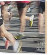 Blurred Marathon Runners Wood Print