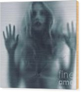Blurred Young Woman Silhouette Behind Glass Wood Print