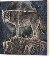 Bm Wolf Moon Wood Print by JQ Licensing