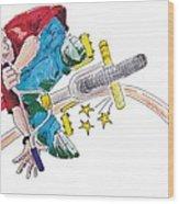 Bmx Drawing Peg Grind Wood Print