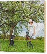 Bmx Flatland Bride Jumps In Spring Meadow Wood Print