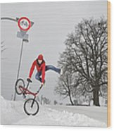 Bmx Flatland In The Snow - Monika Hinz Jumping Wood Print by Matthias Hauser