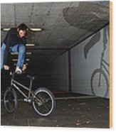 Bmx Flatland Monika Hinz Doing Awesome Trick With Her Bike Wood Print
