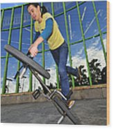 Bmx Flatland - Monika Hinz Riding On Rear Wheel Wood Print