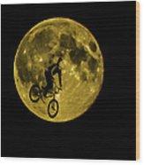 Bmx Moon Wood Print