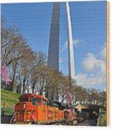 Bnsf Ore Train And St. Louis Gateway Arch Wood Print