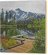 Board Walk- Lake- Fir Trees And Mount Baker Wood Print