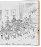 Boardroom With Boss Speaking At Piano Shaped Wood Print