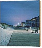 Boardwalk At Night Wood Print