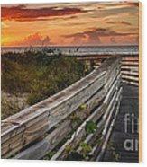 Boardwalk Sunrise Amelia Island Florida Wood Print