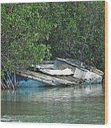 Boat Abandoned In The Mangroves Long Island Bahamas Wood Print