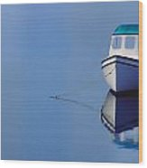 Boat And Red Bouy Wood Print
