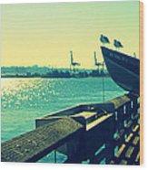 Boat At Alki Beach Wood Print