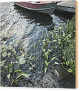 Boat At Dock On Lake Wood Print by Elena Elisseeva