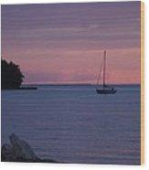Boat At Evening Wood Print