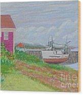 Boat At Low Tide Wood Print