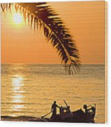 Boat At Sea Sunset Golden Color With Palm Wood Print
