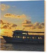 Boat At Sunrise Wood Print
