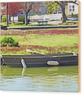 Boat At The Pond Wood Print